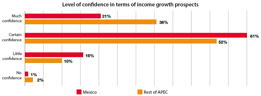 Level of confidence in terms of income growth prospects